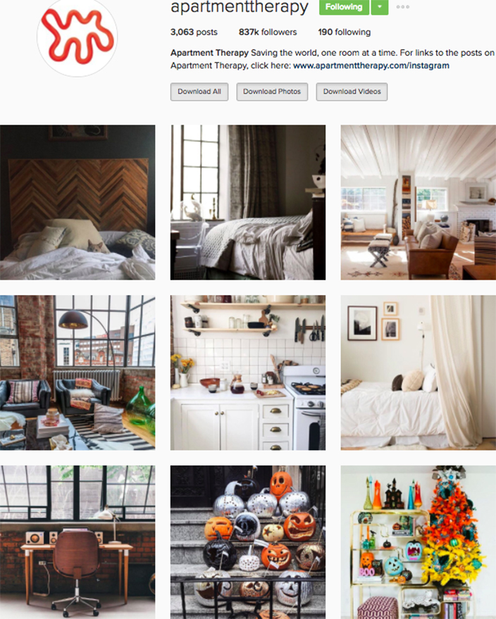 Best interior decor inspiration to follow on instagram @apartmentherapy