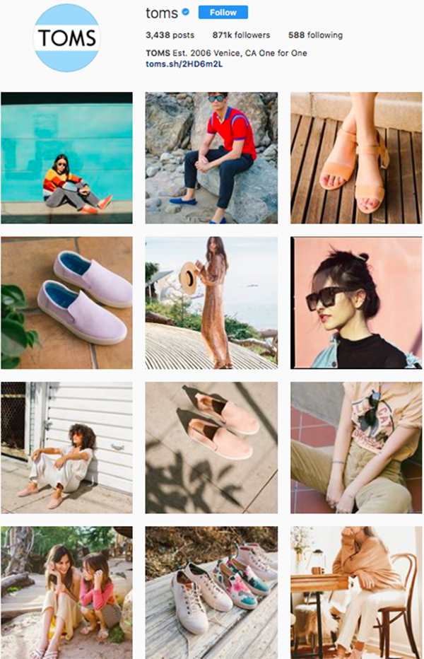 best shoe brands on instagram, toms