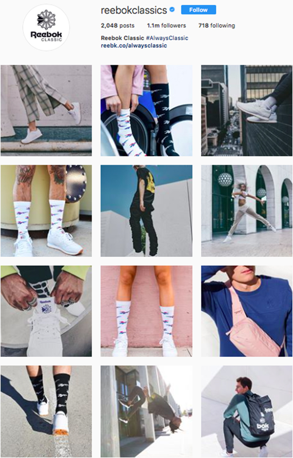 best shoe brands on instagram, reebok classics