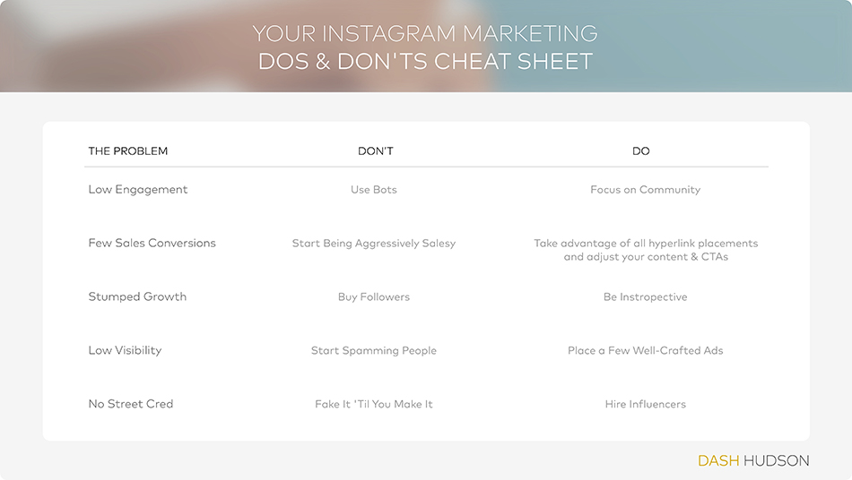 instagram marketing tips for business, instagram do's and don'ts, instagram best practices 2018, using instagram for marketing