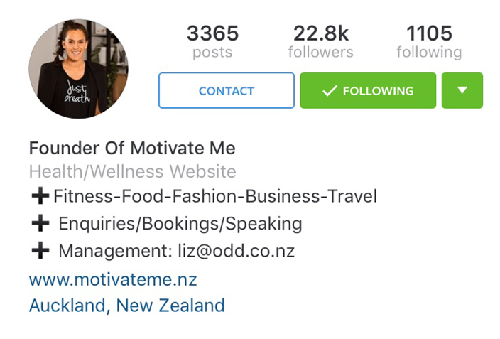 Instagram business profile contact information