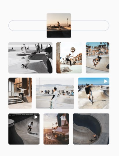 design instagram stories search and select