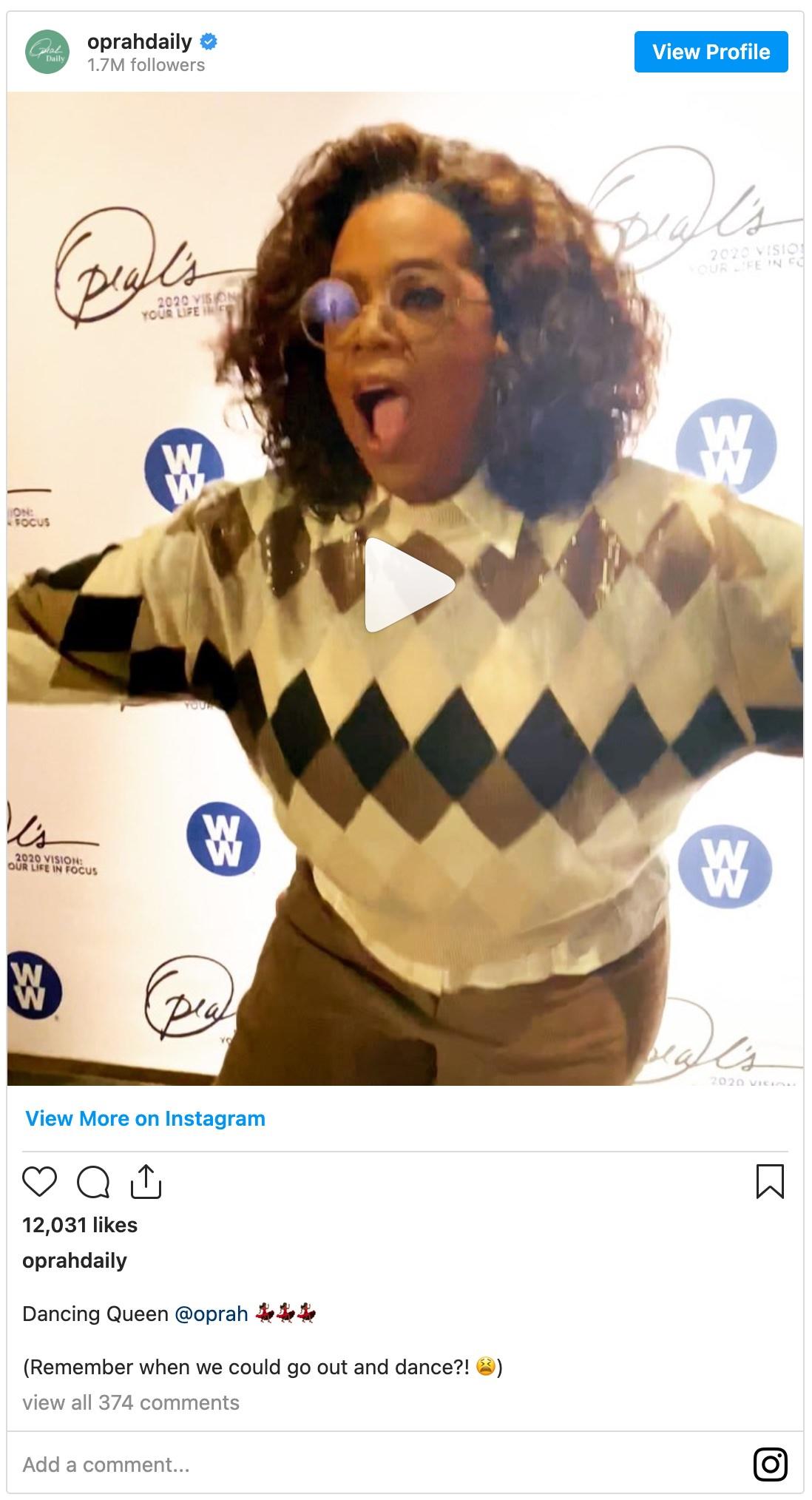Video of Oprah dancing
