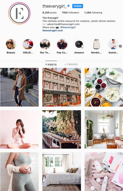 the everygirl instagram feed layout holiday