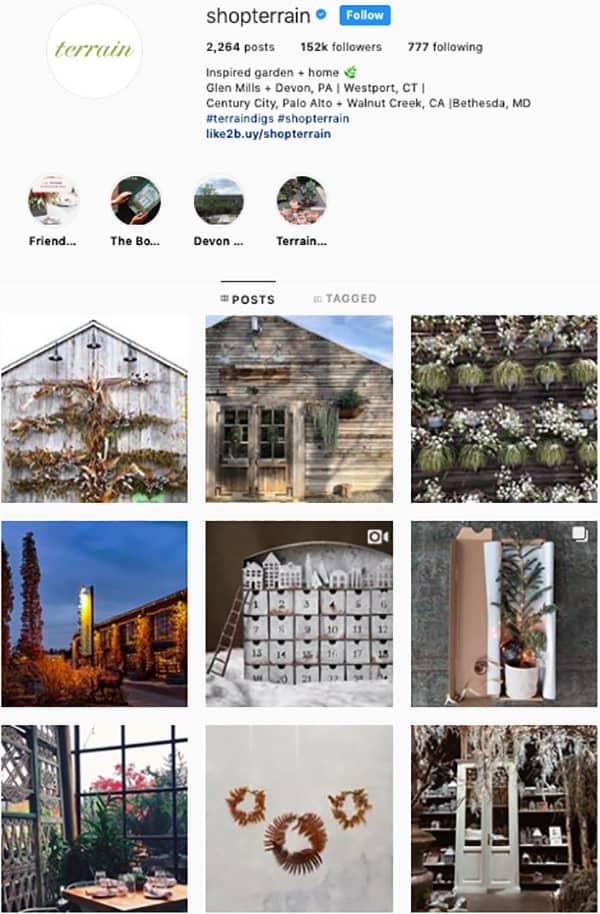shop terrain instagram feed layout holiday