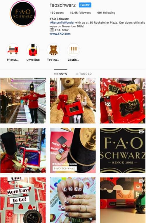 FAO schwarz instagram feed layout holiday