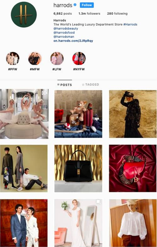 harrods instagram feed layout holiday