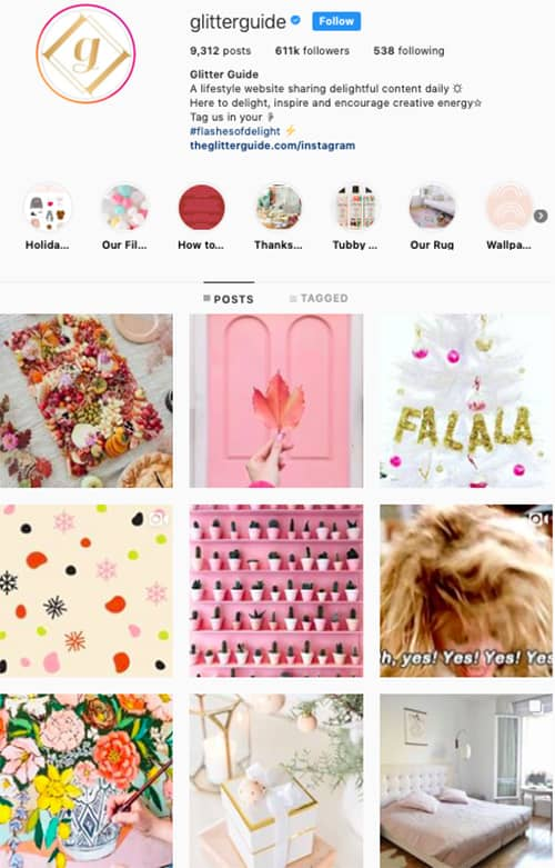glitterguide instagram feed layout holiday