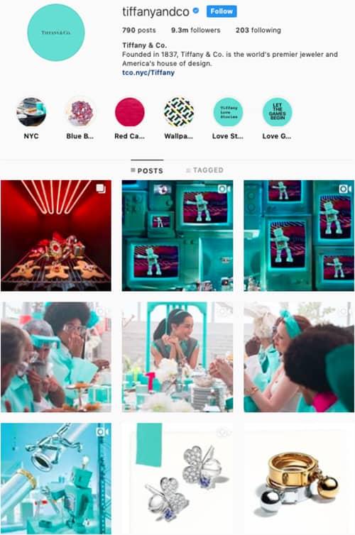 tiffanyandco instagram feed layout holiday