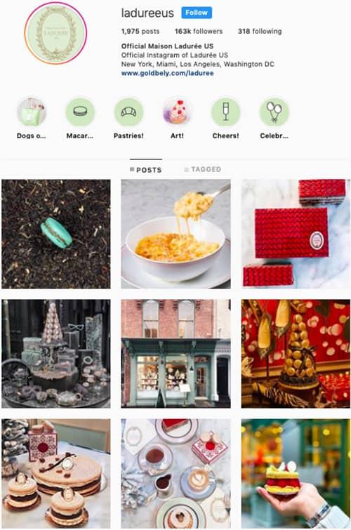 ladureeus instagram feed layout holiday