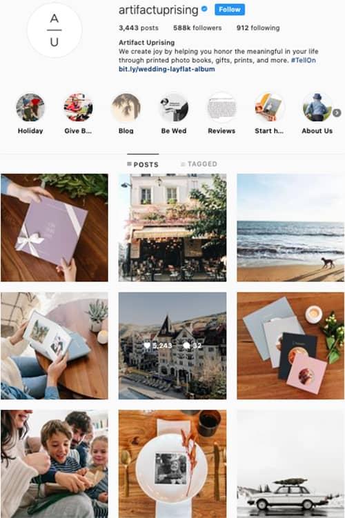 artifactuprising instagram feed layout holiday