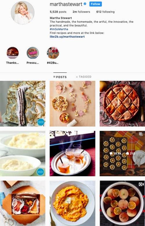 marthastewart instagram feed layout holiday