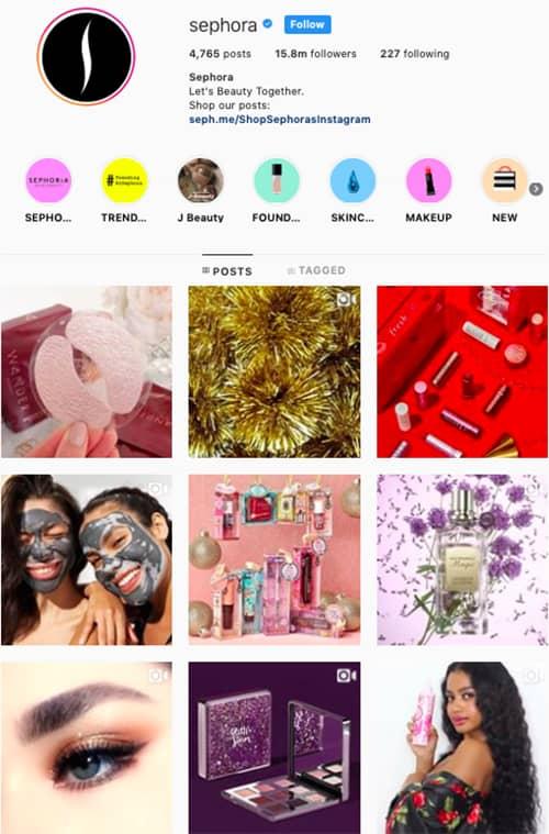 sephora instagram feed layout holiday