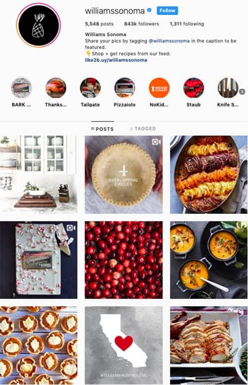 williamssonoma instagram feed layout holiday