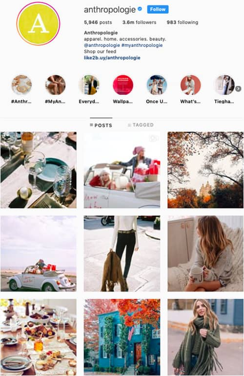 anthropologie instagram feed layout holiday