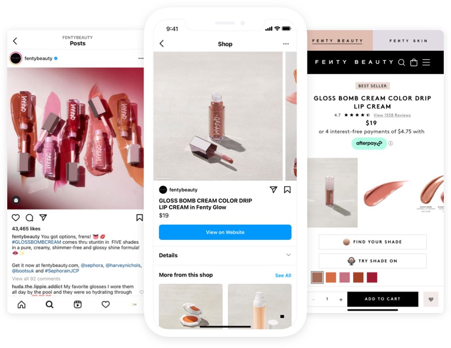 Fenty Beauty Instagram shopping
