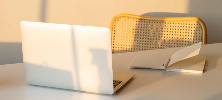 social media tools, image of laptop facing chair