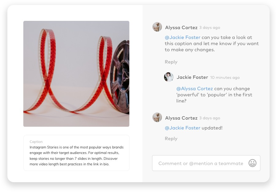 social media tools, screenshot of Dash Hudson team collaboration features