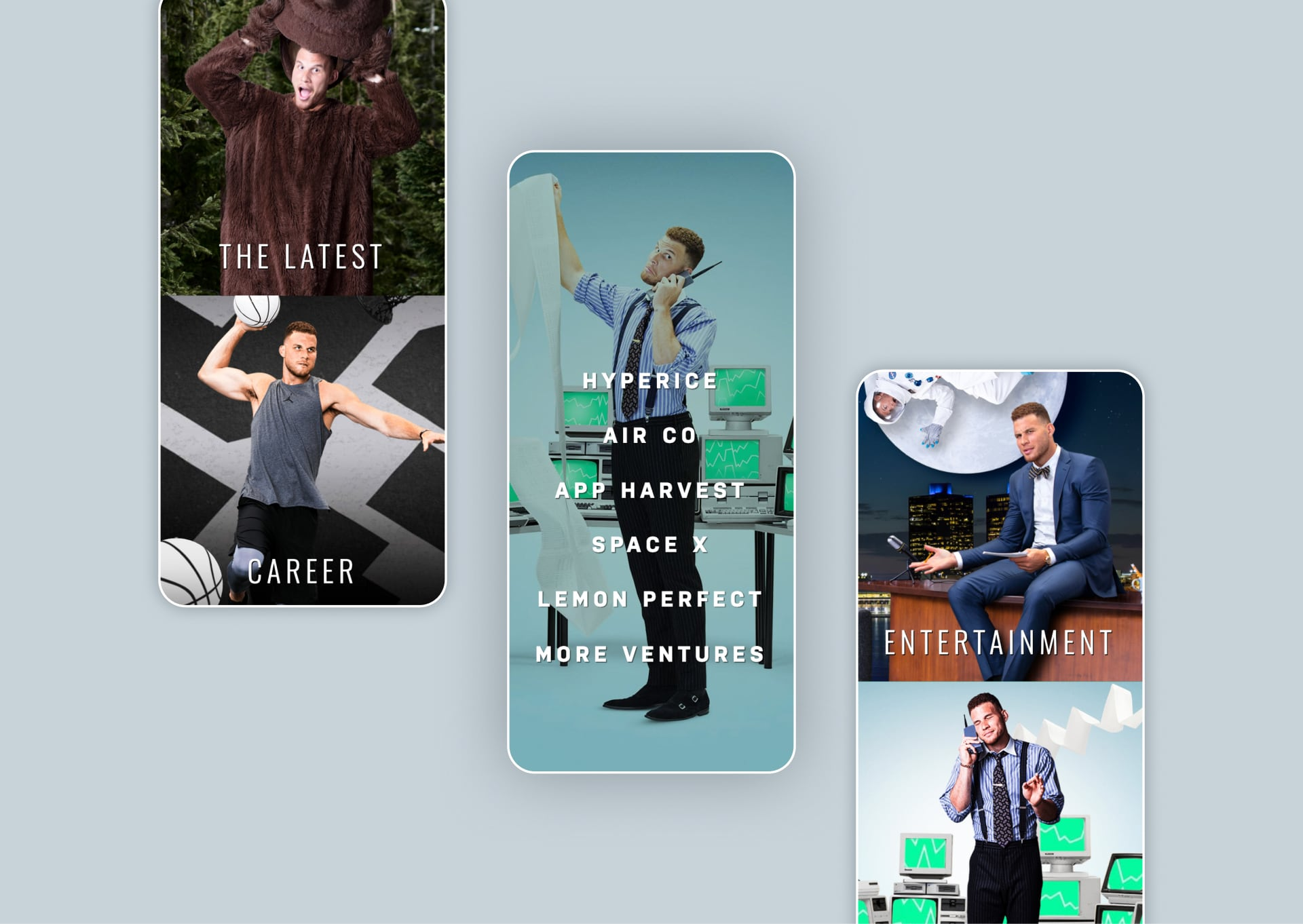 Mobile menu and screens for the mobile version of the Blake Griffin website