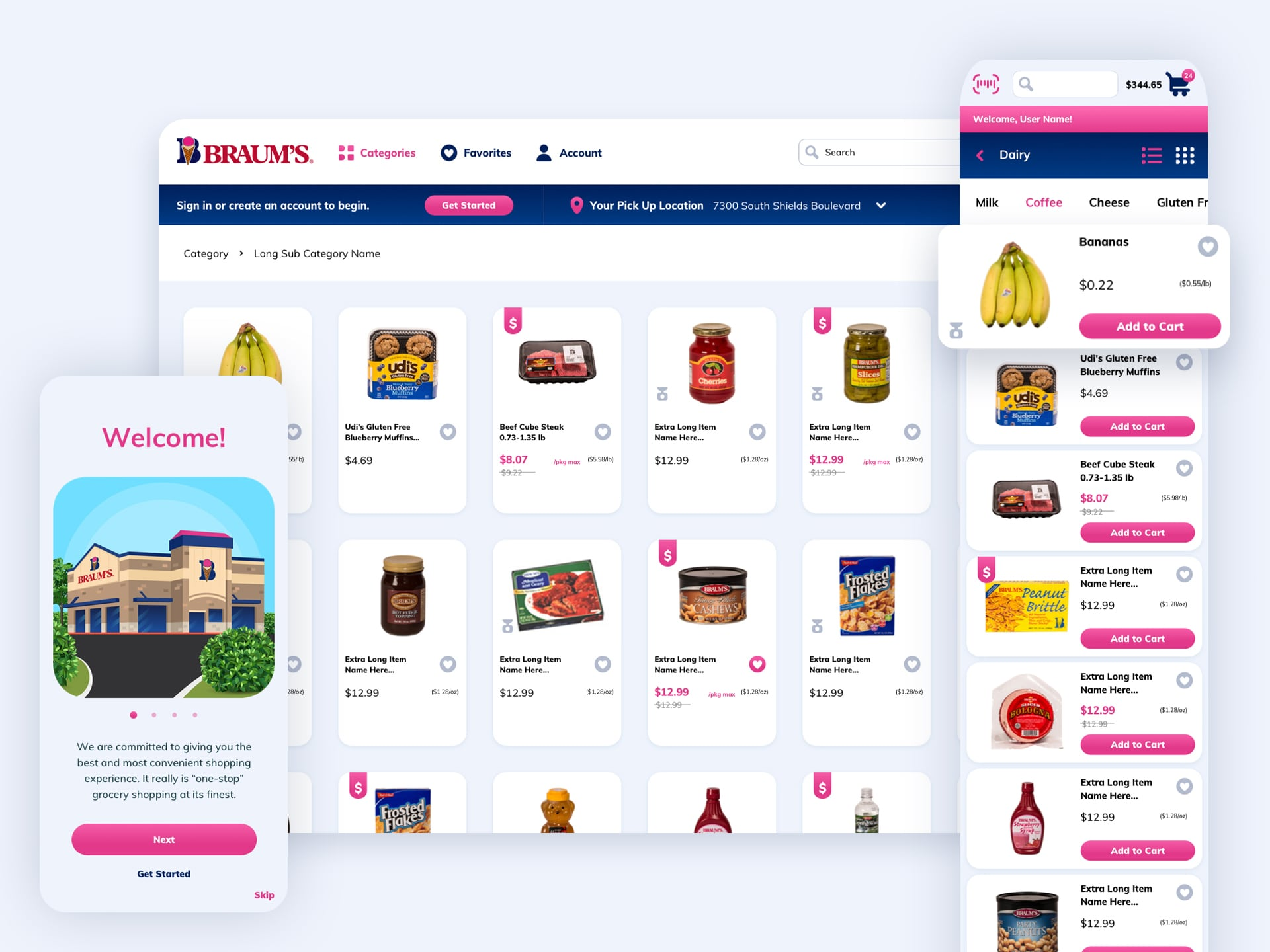 Braum's ecommerce site for desktop and mobile