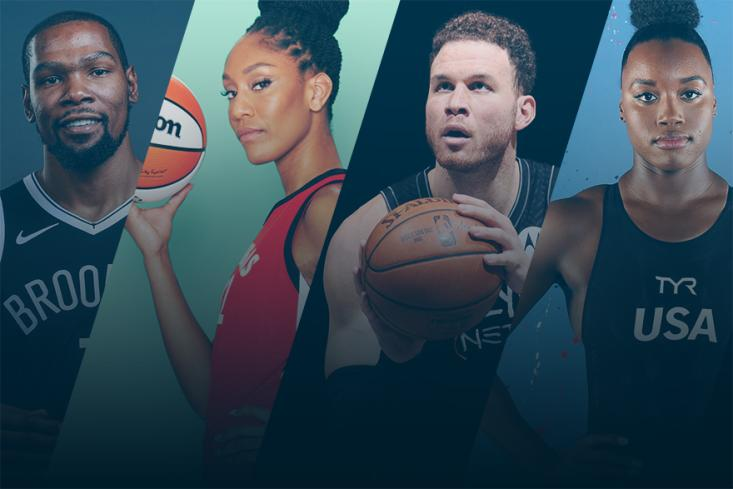 Picture of Kevin Durant, A'ja Wilson, Blake Griffin, and Simone Manuel
