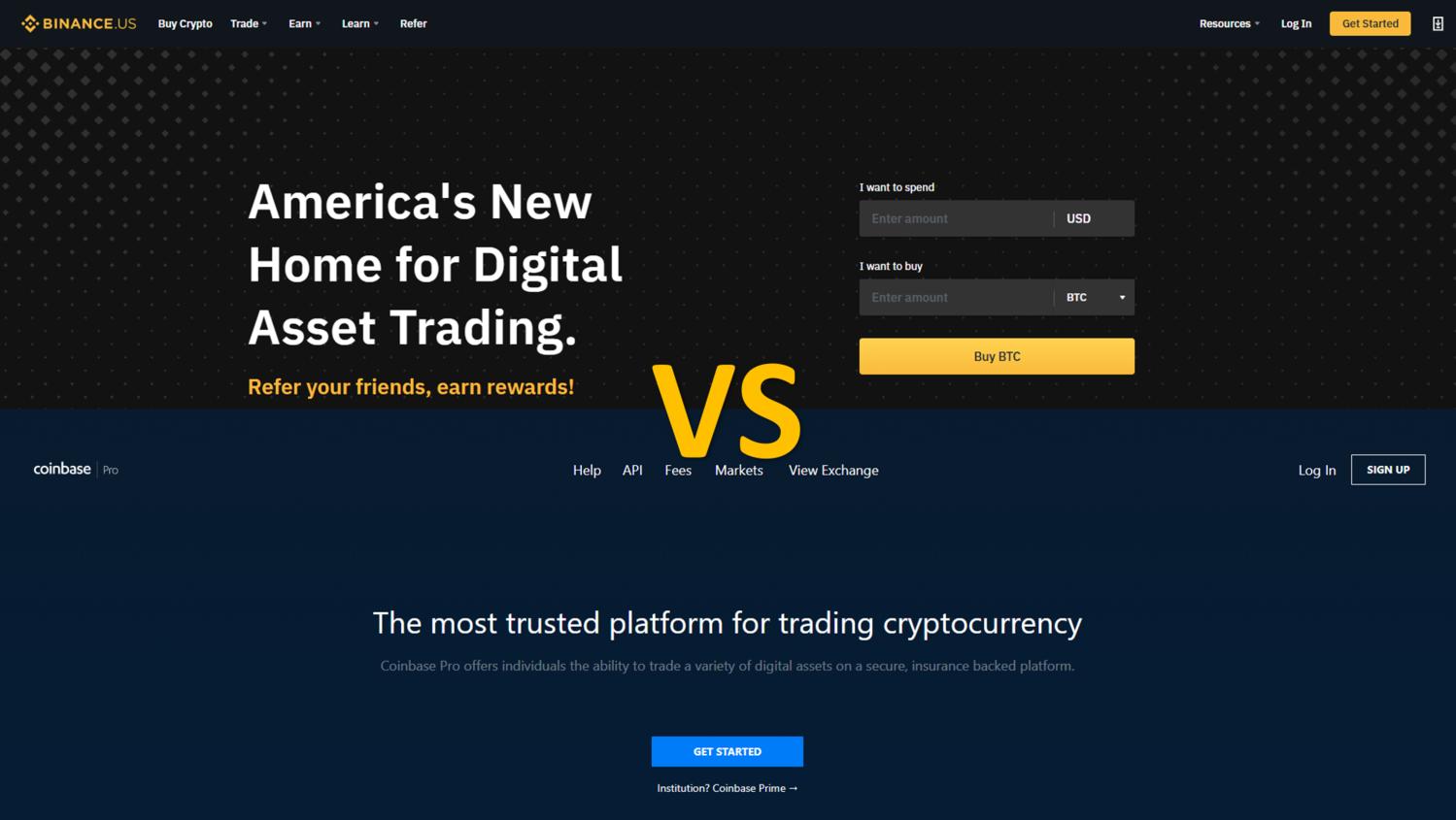 Binance US vs Coinbase Pro