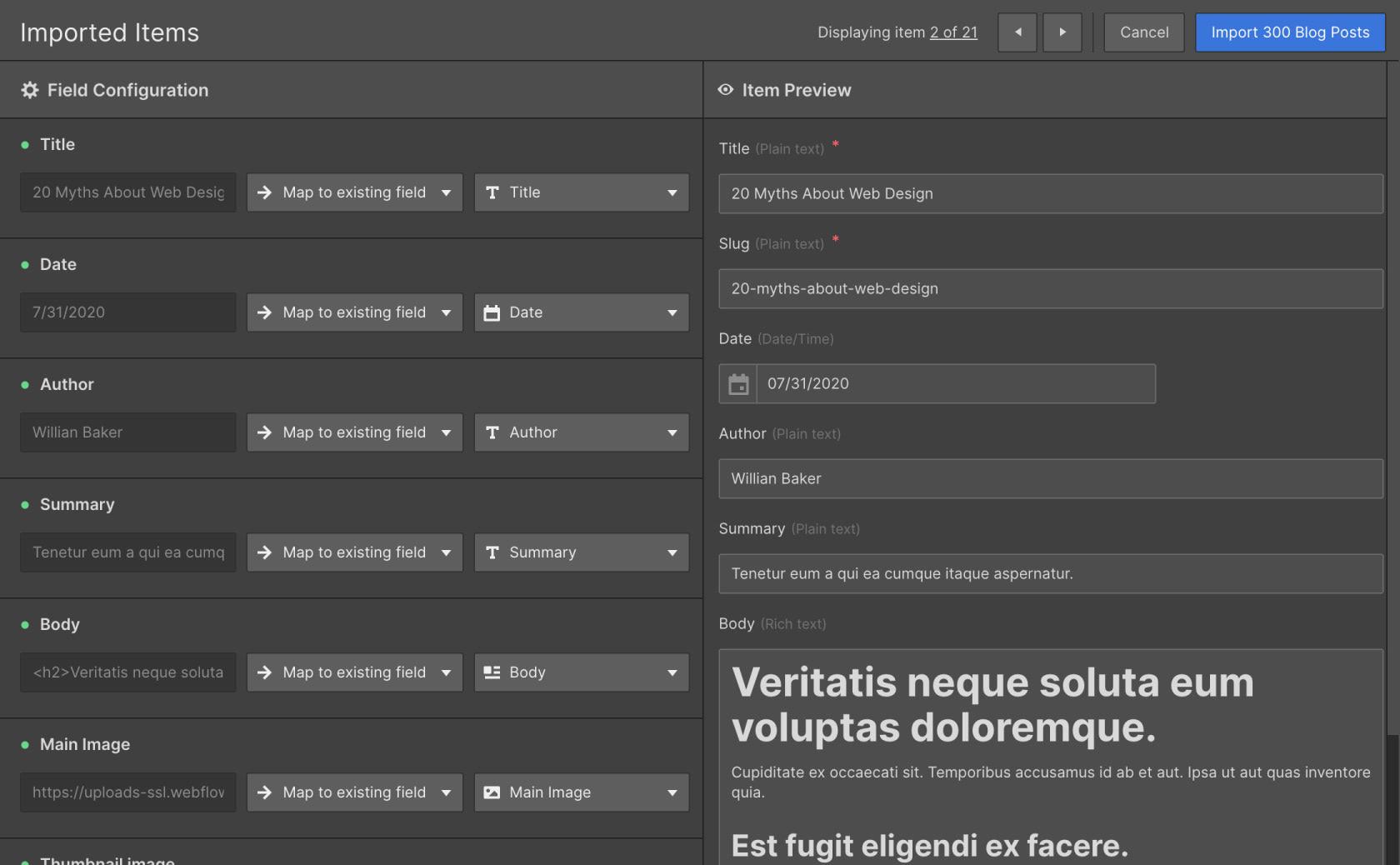 Screenshot of Webflow CSV Import Mapping UI