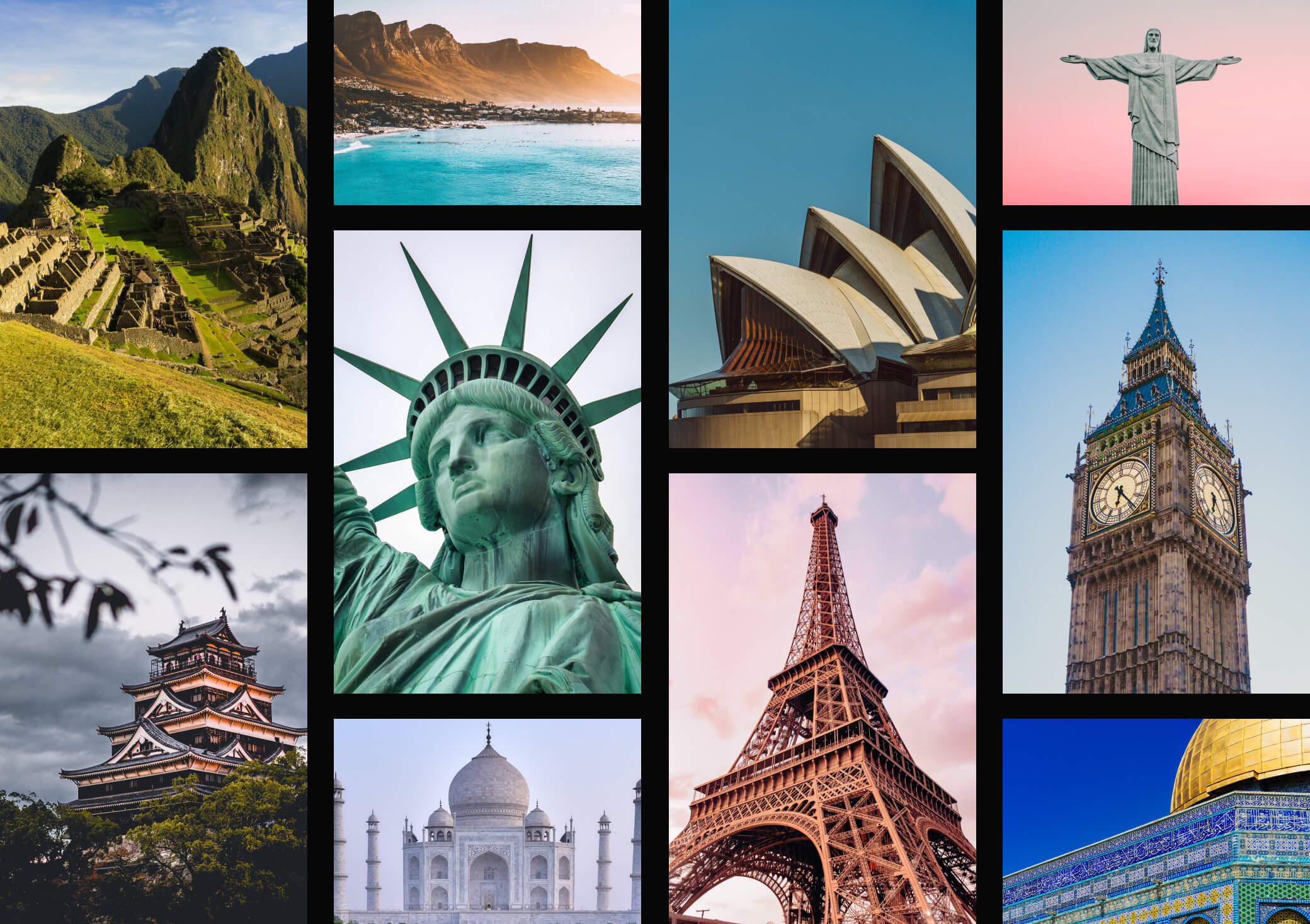 A collage of pictures of global landmarks