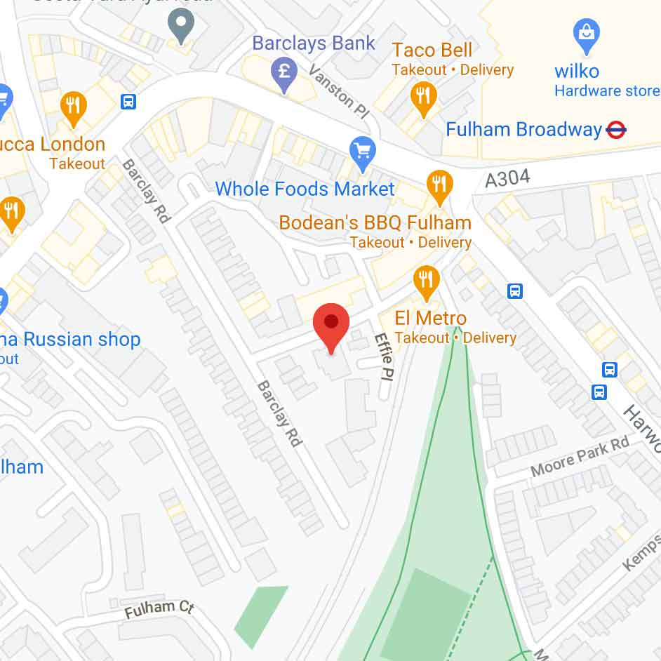 google maps view of Fulham