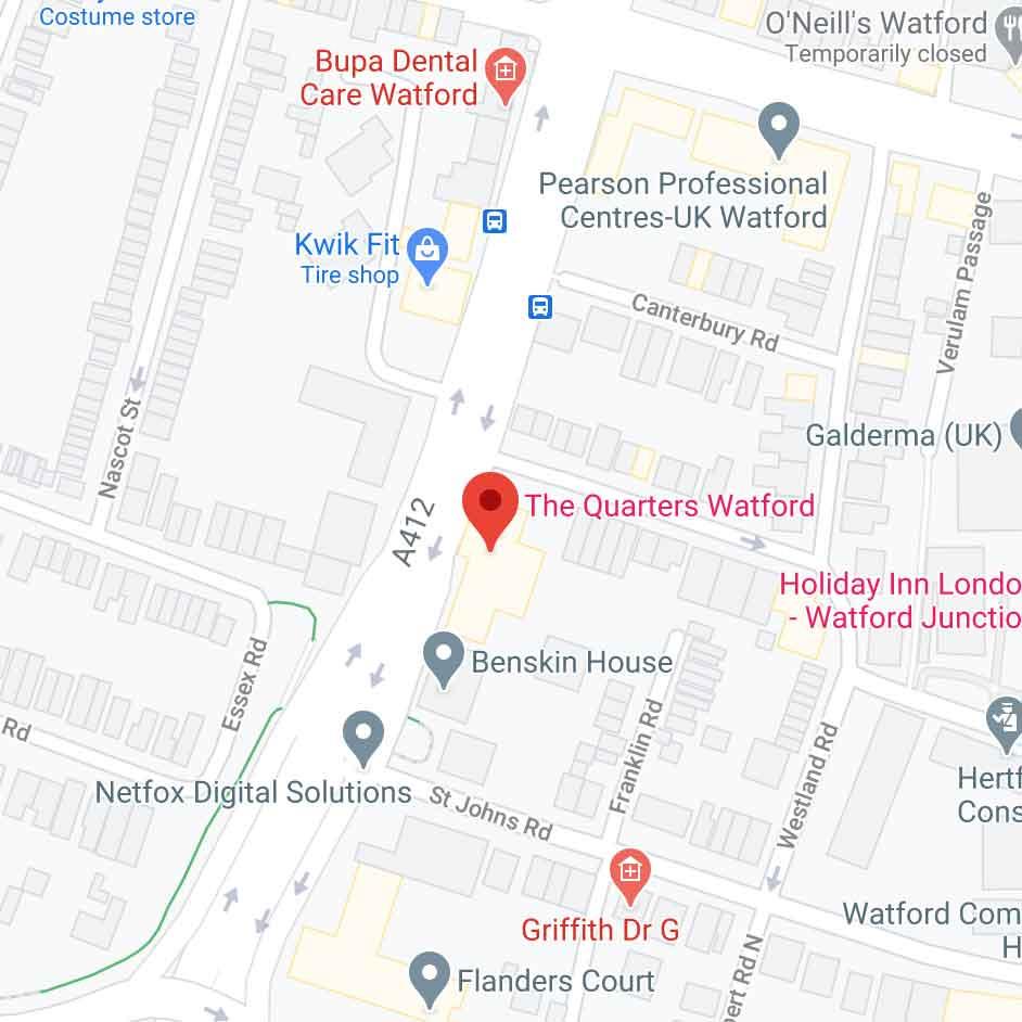 google maps view of Watford