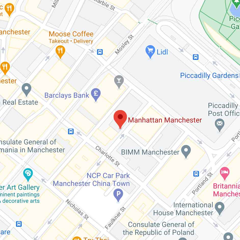 google maps view of Manchester