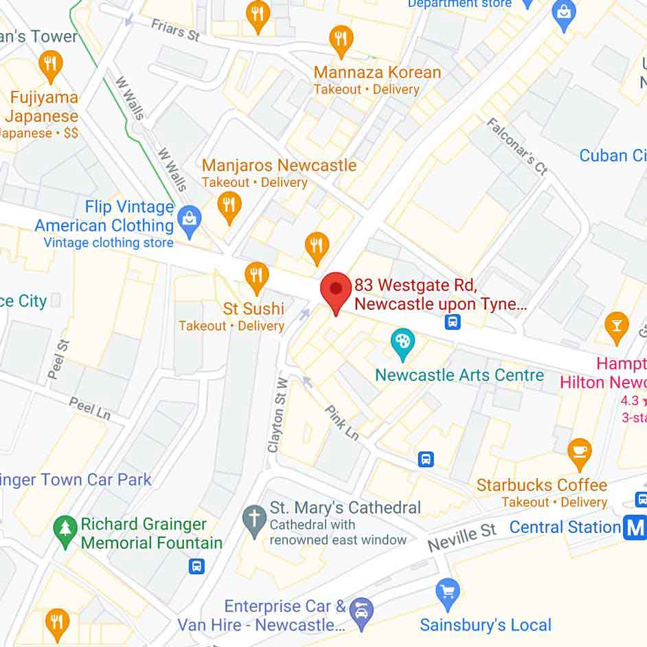 google maps view of Newcastle