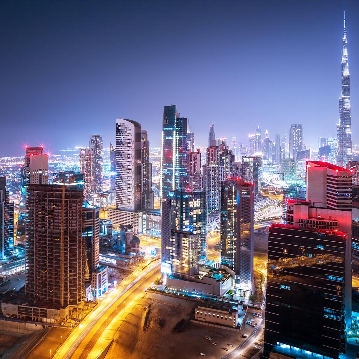 The bustling streets of Dubai
