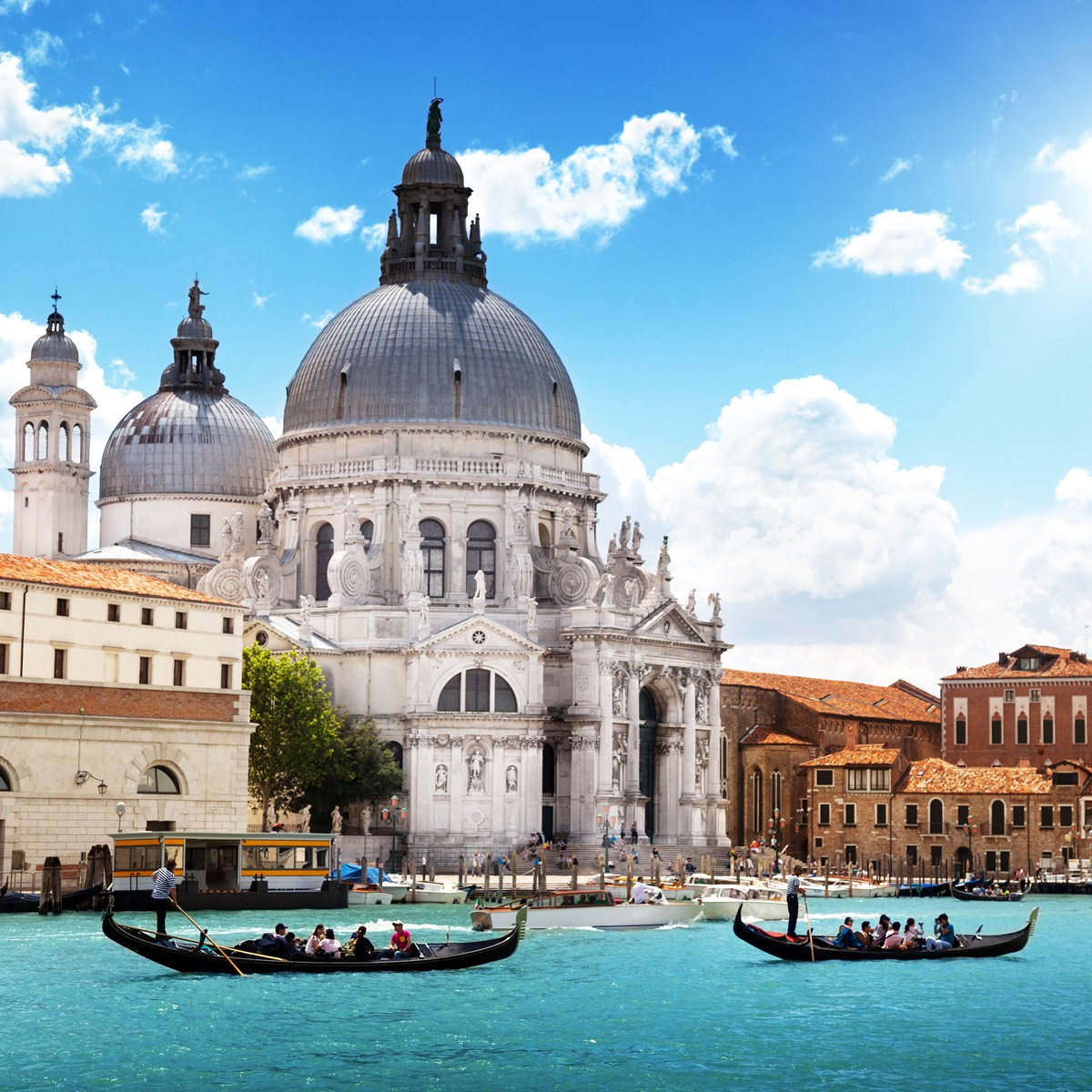 A beautiful cathedral on the canals of Venice