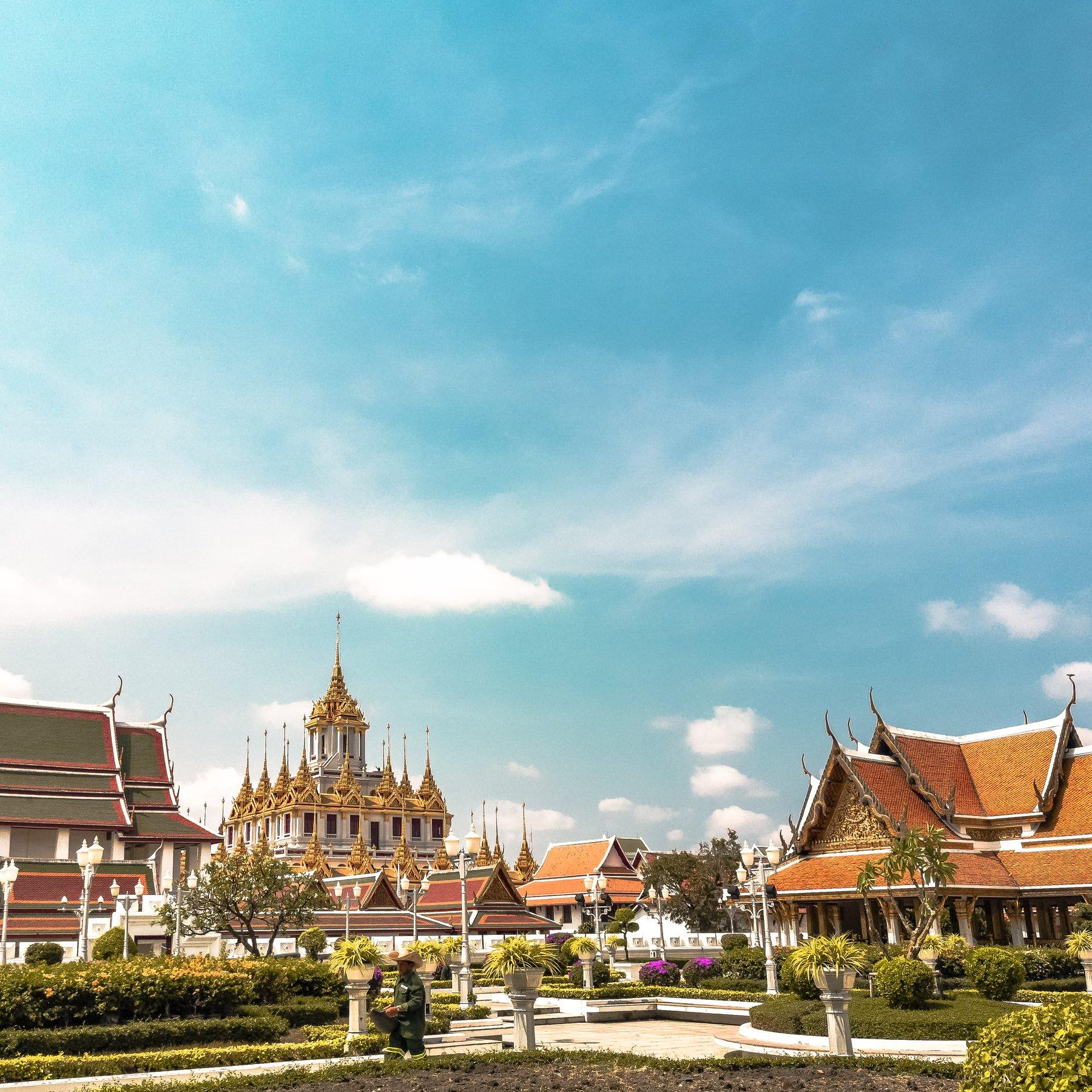 orange temples during daytime