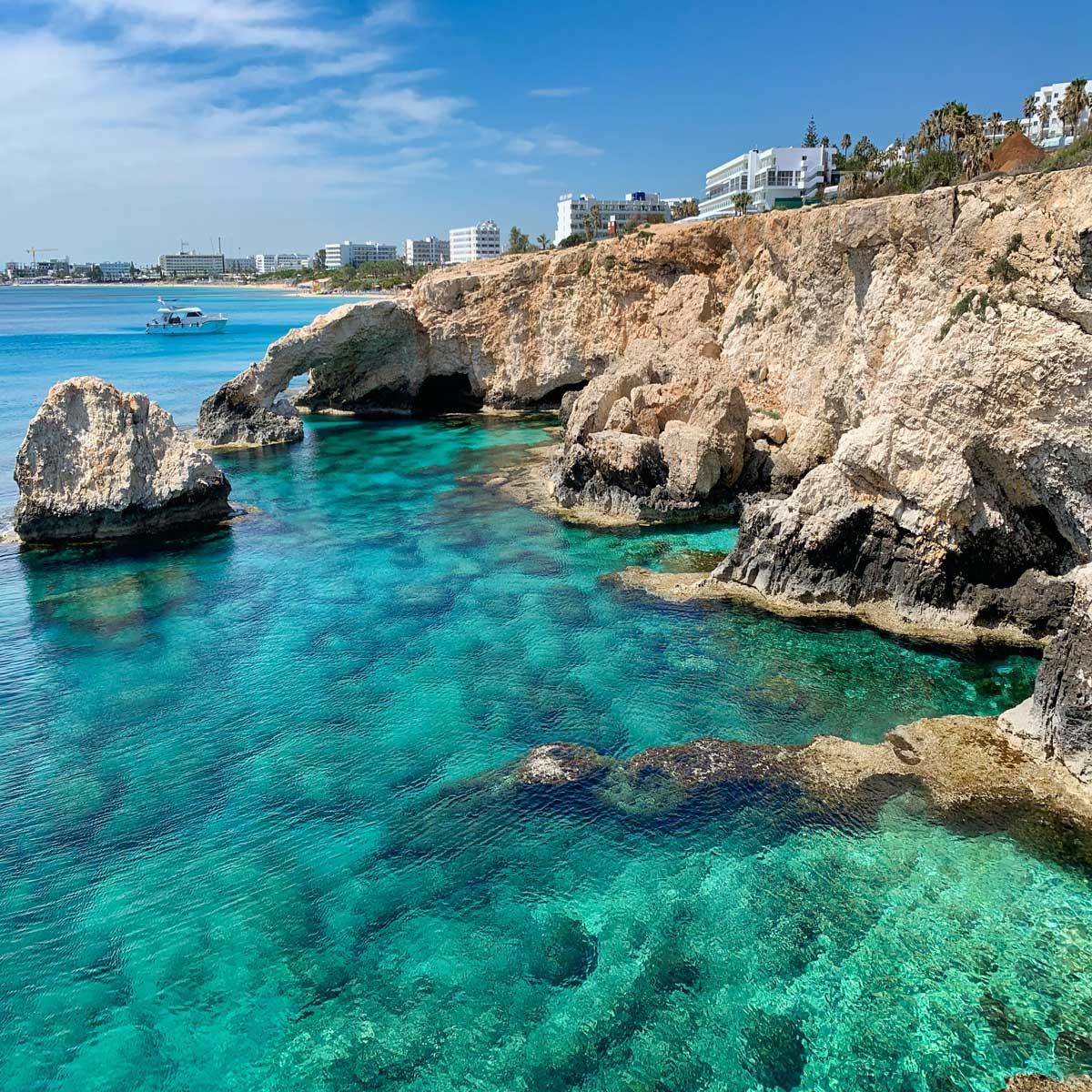 The vivid blue waters of Ayia Napa beach in Cyprus.