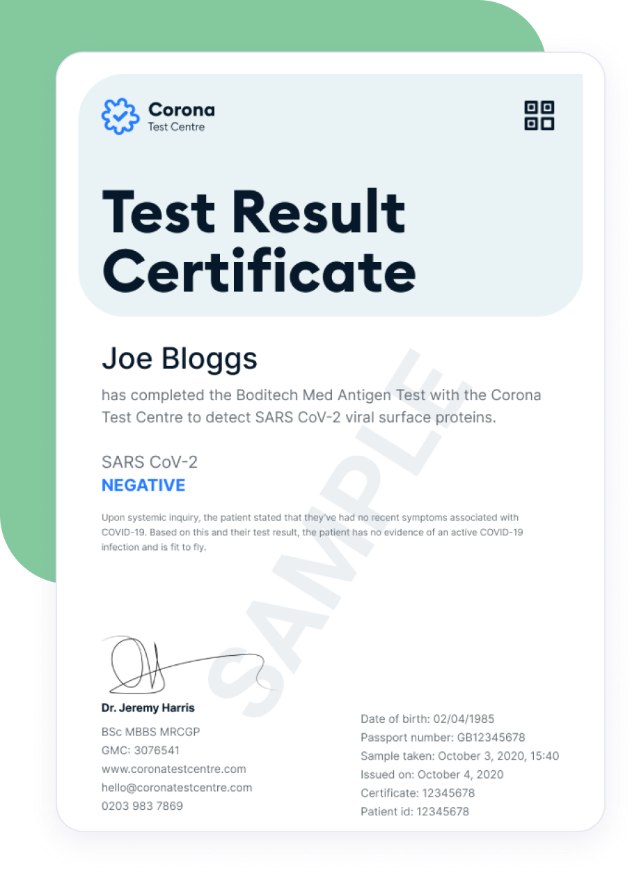 Your covid-19 test certificate