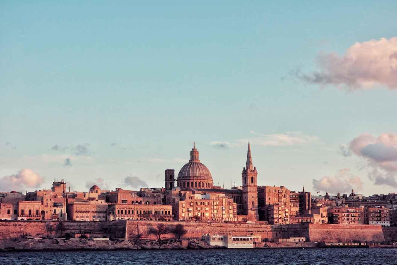 The city of Valletta at sunset