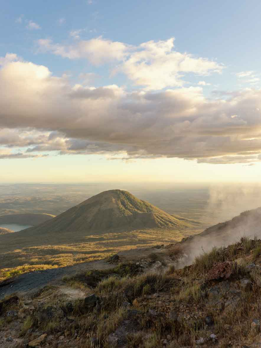 View during sundown from an active volcano