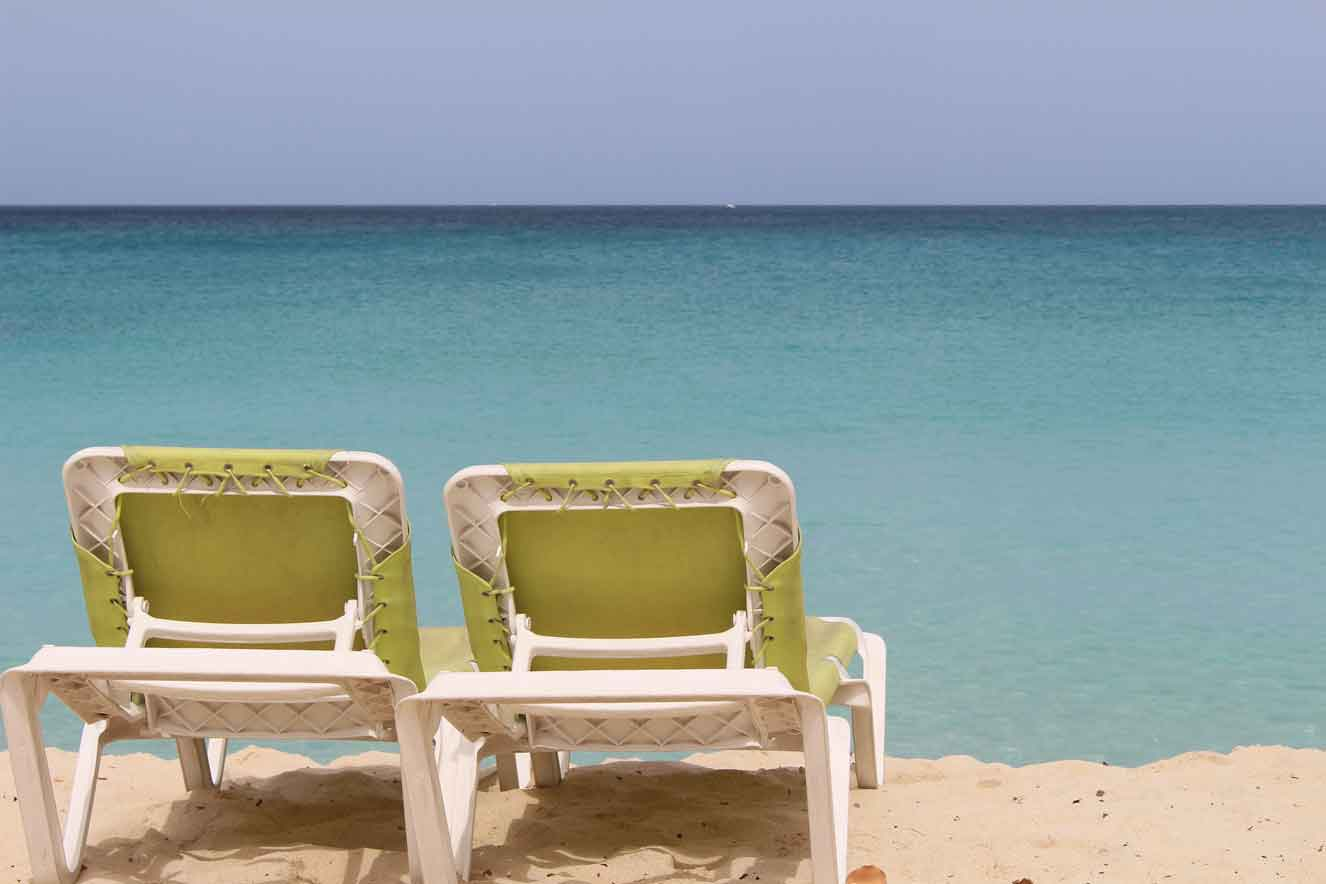 Tropical beach with chairs