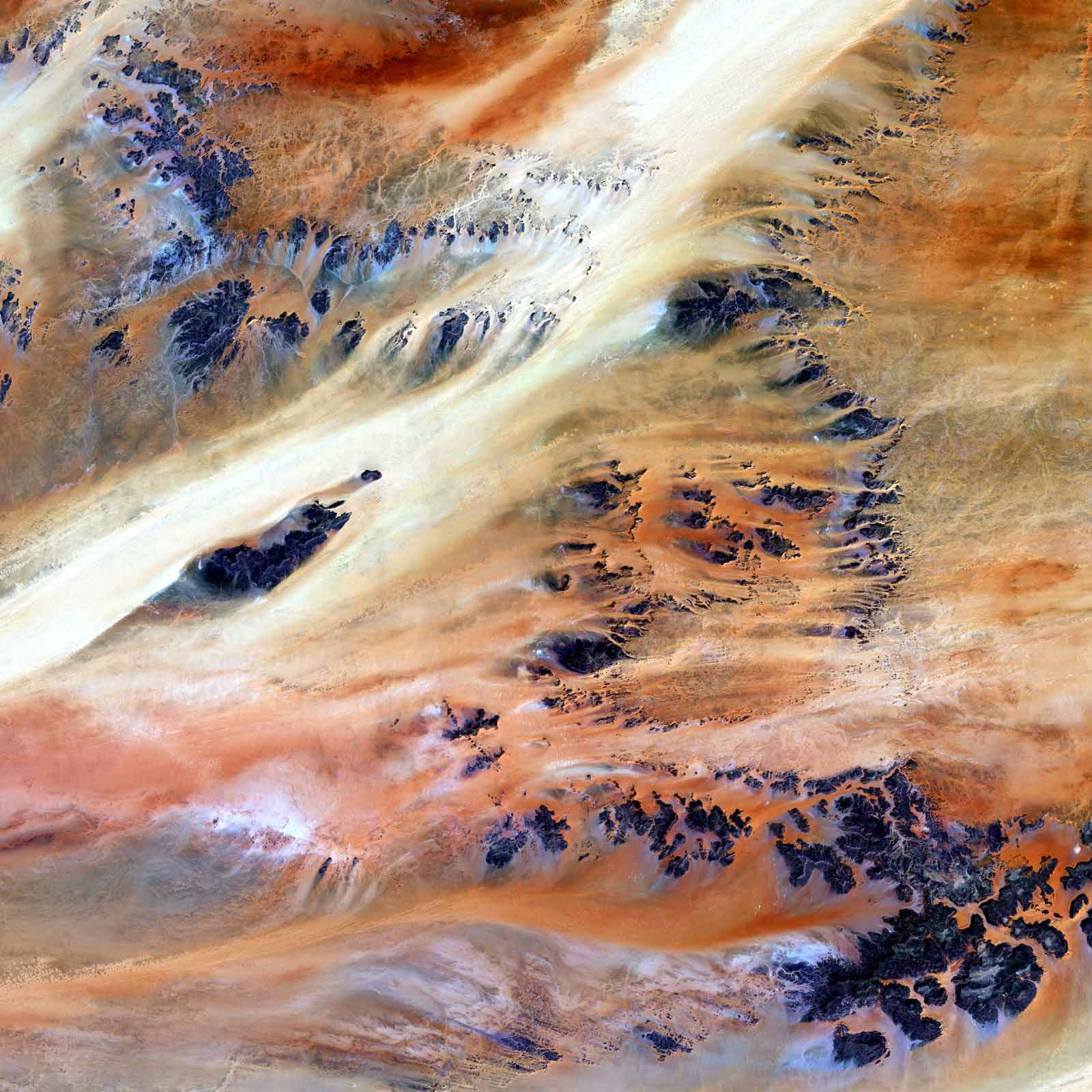 rocky outcroppings of Sahara Desert landscape