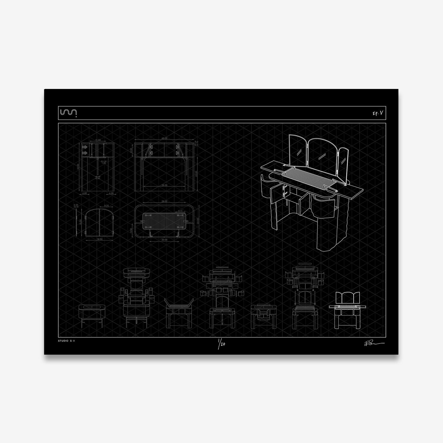These limited edition screen prints illustrate the process behind each challenge on Ellen's Next Great Designer. Hand-printed in Brooklyn, NY. EP.5 yielded a vanity that was inspired by 16th century cabinets of curiosities and contemporary uses for them. The final piece was made from MDF, steel, and acrylic. Edition of 20; Signed by the artist