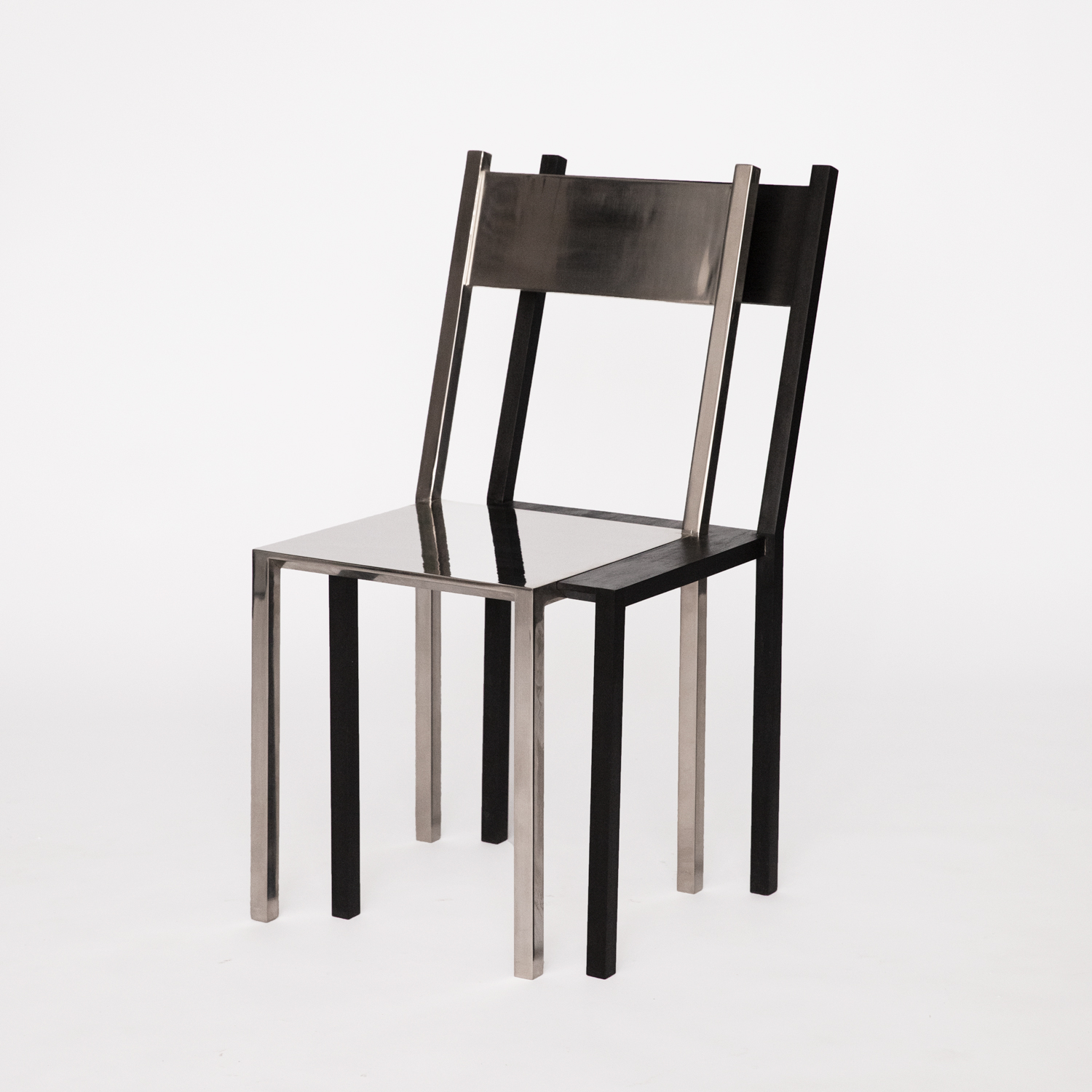 Influenced by drunken nights, the DV Chair is sculpture that expresses the feeling and effect of double vision. By combining reflective and opaque materials, two perceived images overlap and are perceived as one holistic object. Welded in Philadelphia, PA and built in Brooklyn, NY. Edition of 10, 2 APs.