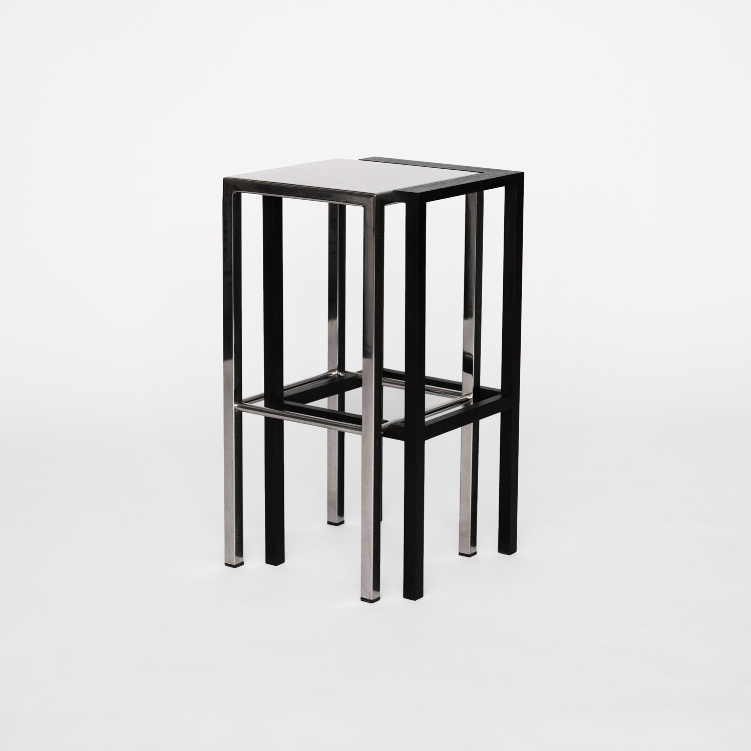 Influenced by drunken nights, the DV Stool expresses the feeling and effect of double vision. By combining reflective and opaque materials, two perceived images overlap and are perceived as one holistic object. Welded in Philadelphia PA and built in Brooklyn, NY. Edition of 20, 2 APs.
