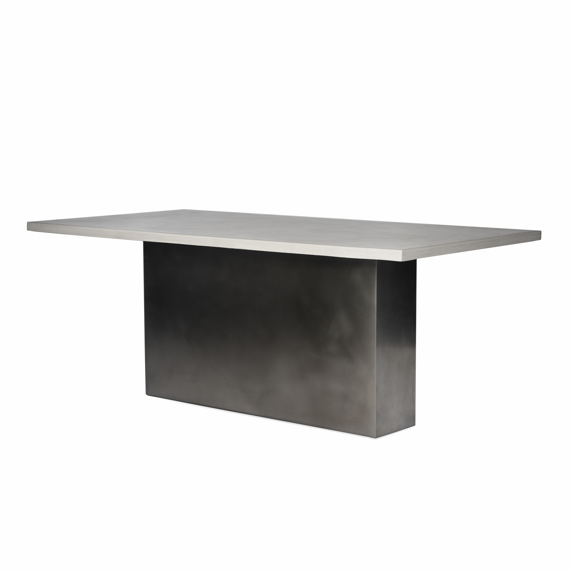 Pedestal Base Cladded in 16-Gauge Satin Rubbed Stainless Steel With Custom Lightly Pigmented Cast Concrete/Gypsum Mixture Top. Made to order.