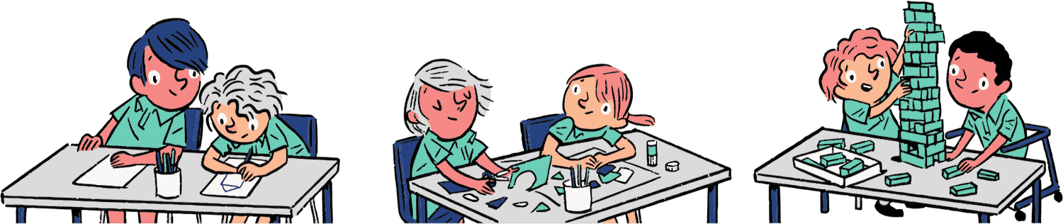 Illustration by Tom Jellett for Quirky Kid showing children  in groups of two on tables doing craft or drawing