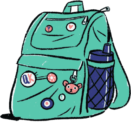 An Illustrated school bag with Quirky Kid badges, a water bottle and a key ring inviting schools to work with The Quirky Kid Clinic and our SEL Programs