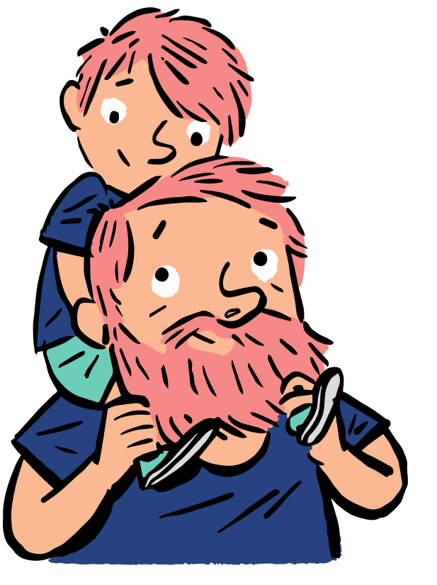 Illustration of a father, who is a client of the Quirky Kid Child Psychology Clinic, holding his son on his shoulders.