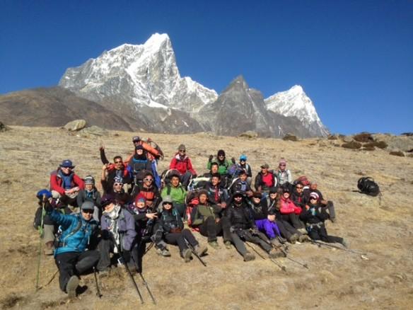 Dr Katrhryn Berry and her group at Mt Everest basecamp