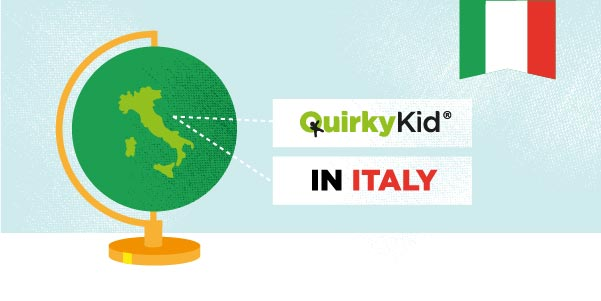 Image of globe focus on Italy by Quirky Kid|Image of globe, focus on Italy and The Quirky Kid Clinic logo